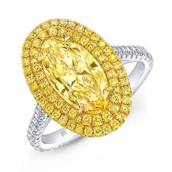 Platinum and 18k Yellow Gold Yellow Diamond Halo Style Ring