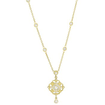 18k Yellow Gold Diamond Drop Necklace