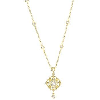 18k Yellow Gold Diamond Drop Necklace