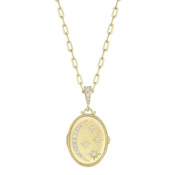 18k Yellow Gold Diamond Moon & Star Locket