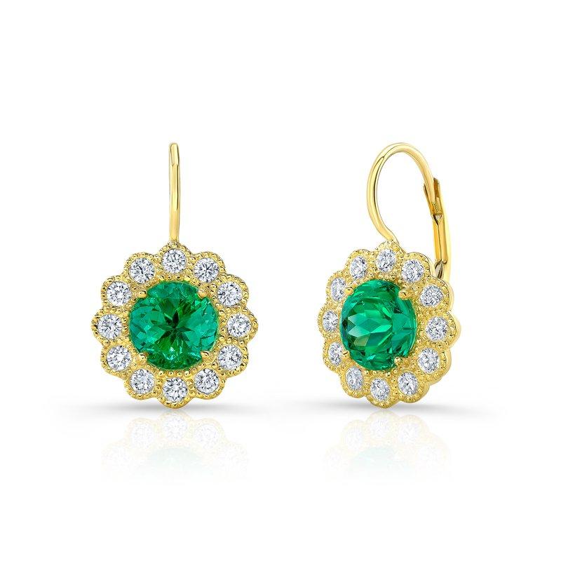 Rahaminov 18k Yellow Gold Emerald and Diamond Earrings