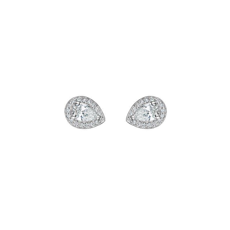 Penny Preville 18k White Gold Diamond Halo Earrings