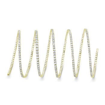 18k Yellow Gold Diamond Coil Bracelet