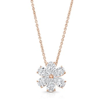 18k Rose Gold Diamond Flower Necklace