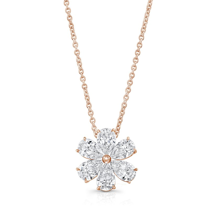 Rahaminov 18k Rose Gold Diamond Flower Necklace