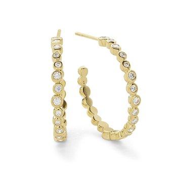 18k Starlet Medium Hoop Diamond Earring