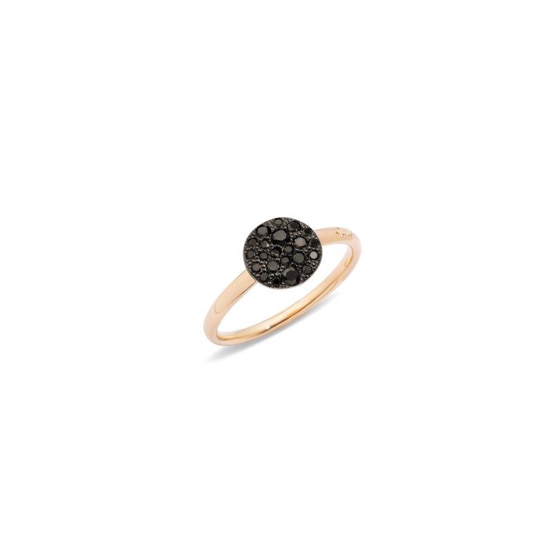 Pomellato Sabbia 18k rose gold black diamond ring
