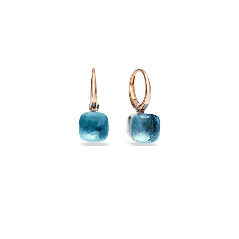 Pomellato Nudo 18k rose gold sky blue topaz earrings