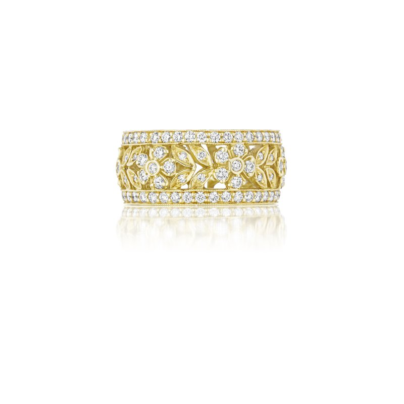 Penny Preville 18k Yellow Gold Wide Diamond Flower Band