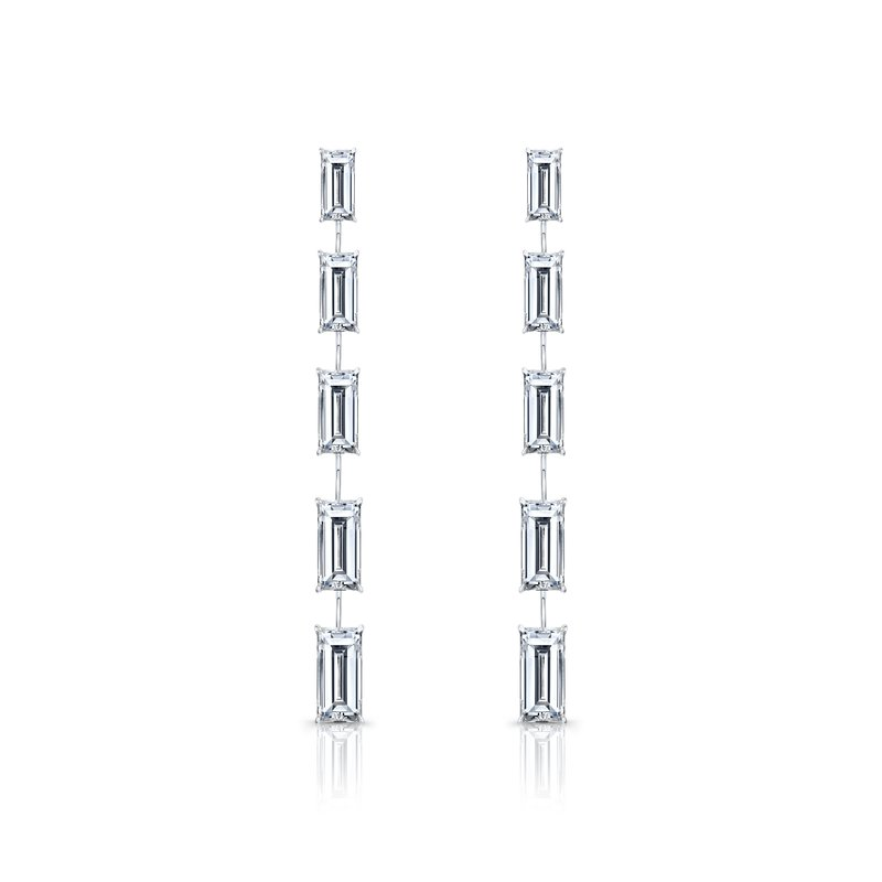 Rahaminov 18k White Gold Diamond Dangle Earrings