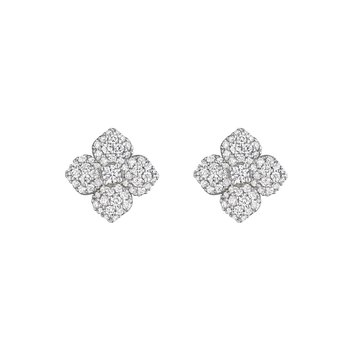 18k White Gold Diamond Pave Flower Earrings SM