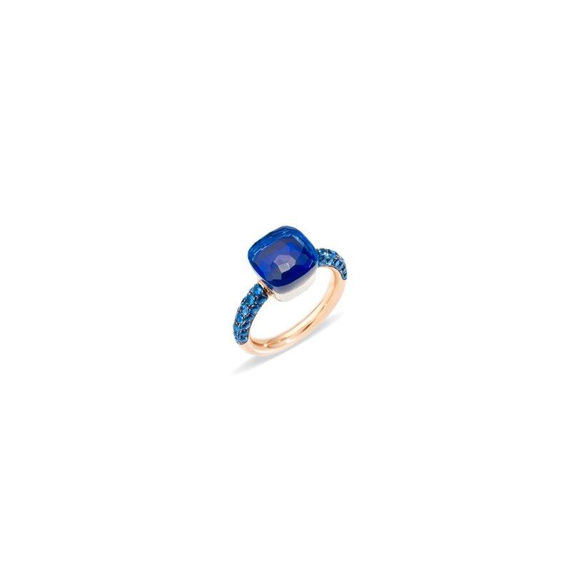 Pomellato Nudo 18k rose gold London blue topaz/lapis ring
