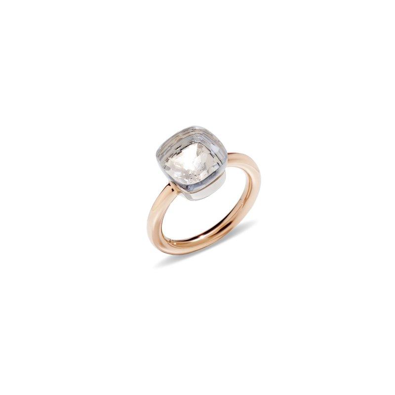 Pomellato Nudo 18k rose gold sky white topaz ring