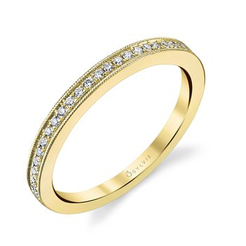 14k Gold Milgrain Edge Diamond Band