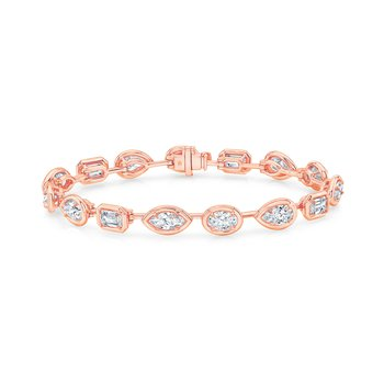 18k Rose Gold Multi-shape Diamond Bracelet