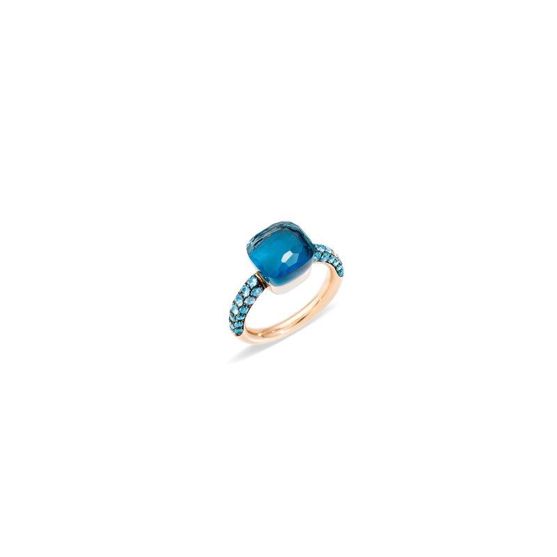 Pomellato Nudo 18k rose gold London blue topaz/turquoise ring
