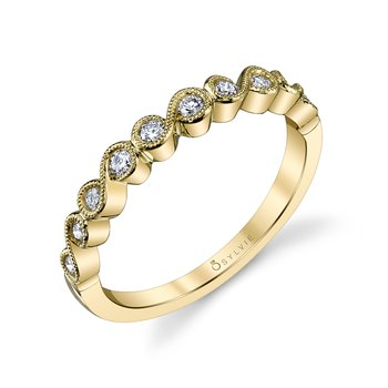 14k Gold Diamond Swirl Band