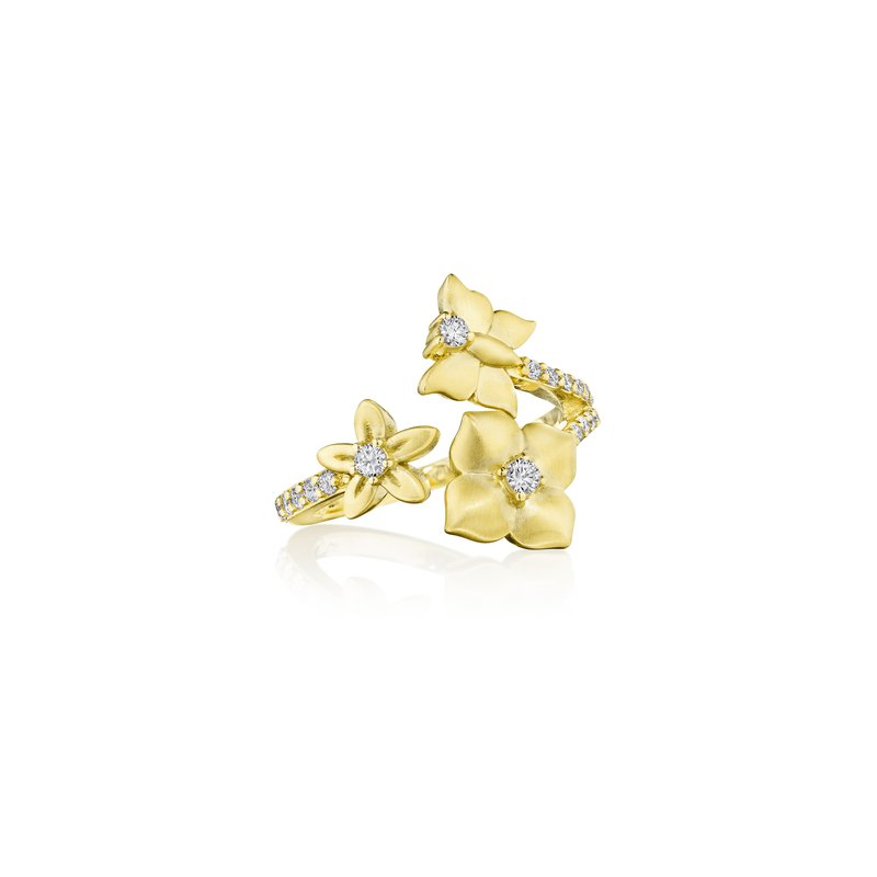 Penny Preville 18k Yellow Gold Petite Flower Wrap Ring