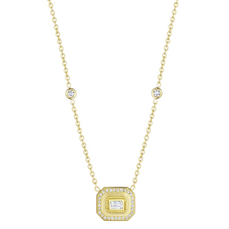 Penny Preville 18k Yellow Gold Emerald Shape Halo Pendant
