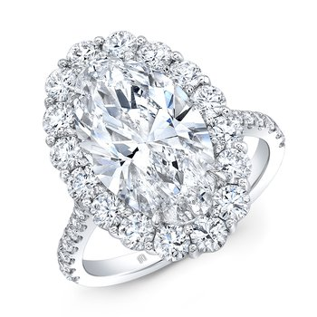 Platinum Oval Brilliant Halo Style Engagement Ring