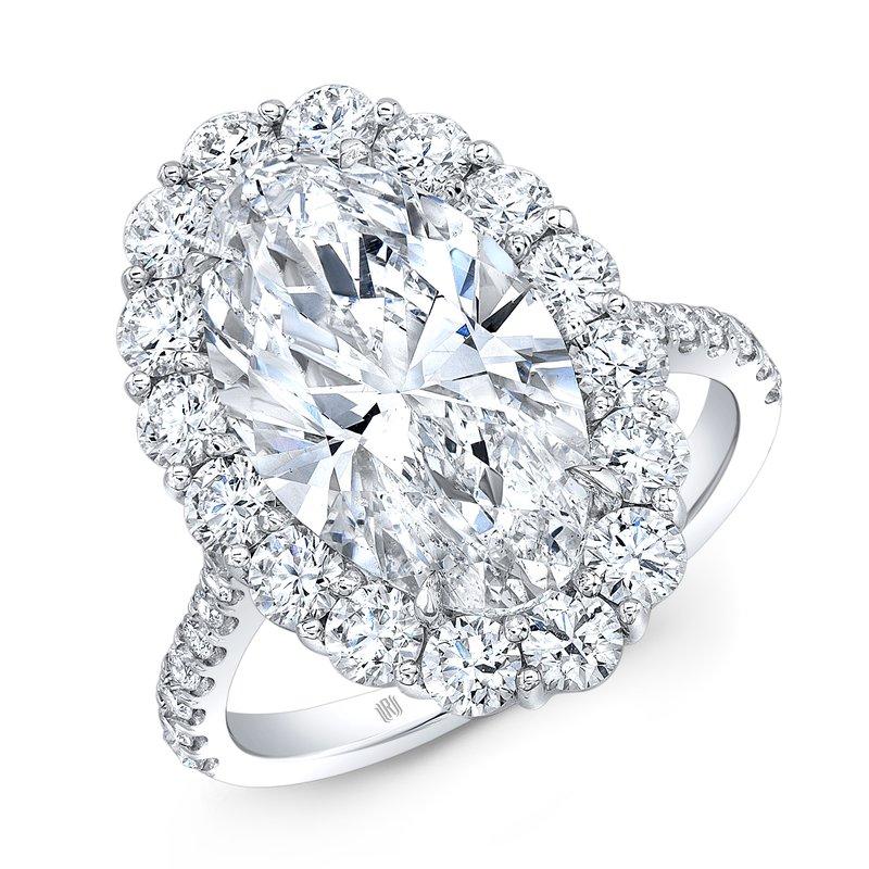 Rahaminov Platinum Oval Brilliant Halo Style Engagement Ring