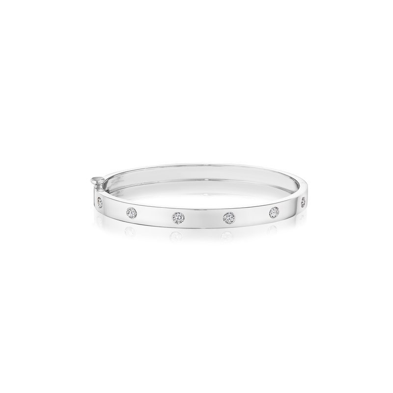 Penny Preville 18k White Gold Burnished Diamond Bangle