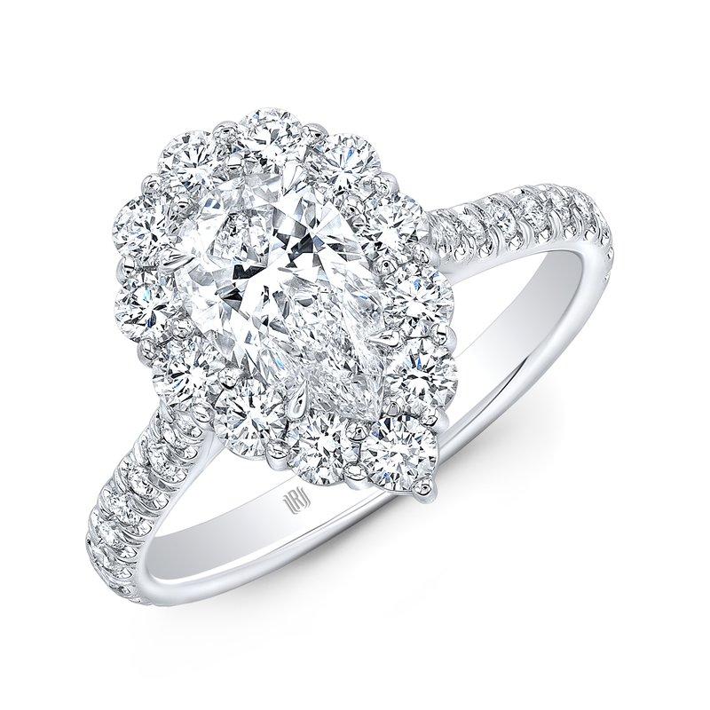 Rahaminov 18k White Gold Pear Shape Halo Style Engagement Ring