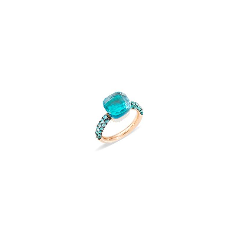 Pomellato Nudo 18k rose gold sky blue topaz/agate/topaz ring
