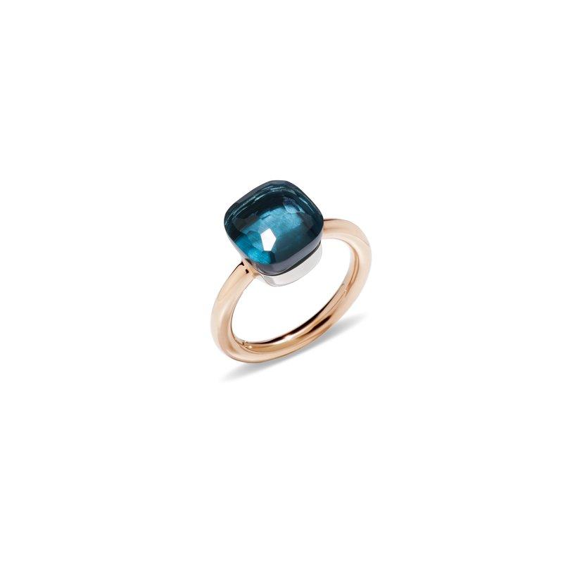 Pomellato Nudo 18k rose gold london blue topaz ring