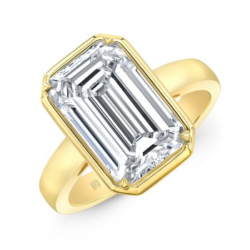 18k Yellow Gold Bezel Set Cushion Cut Ring
