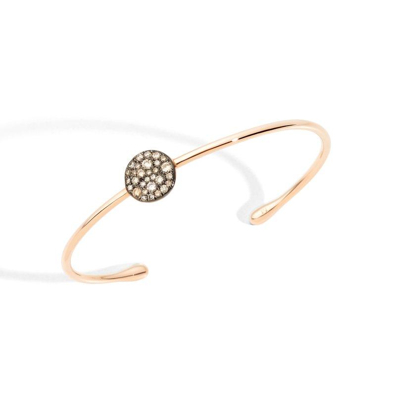Pomellato Sabbia 18k rose gold brown diamond bangle