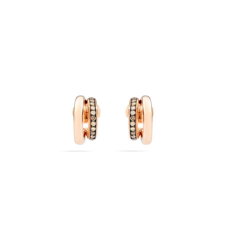 Pomellato Iconica 18k rose gold brown diamond earrings