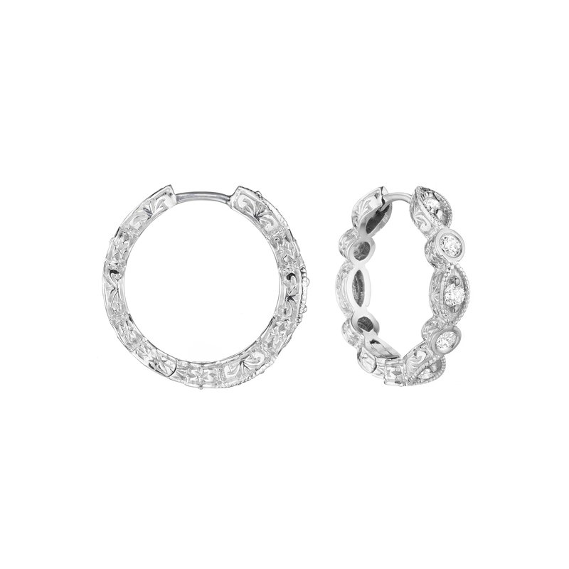 Penny Preville 18k White Gold Diamond Hoop Earrings