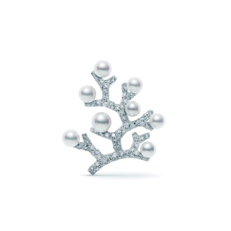 Mikimoto Akoya Pearl and Diamond Brooch