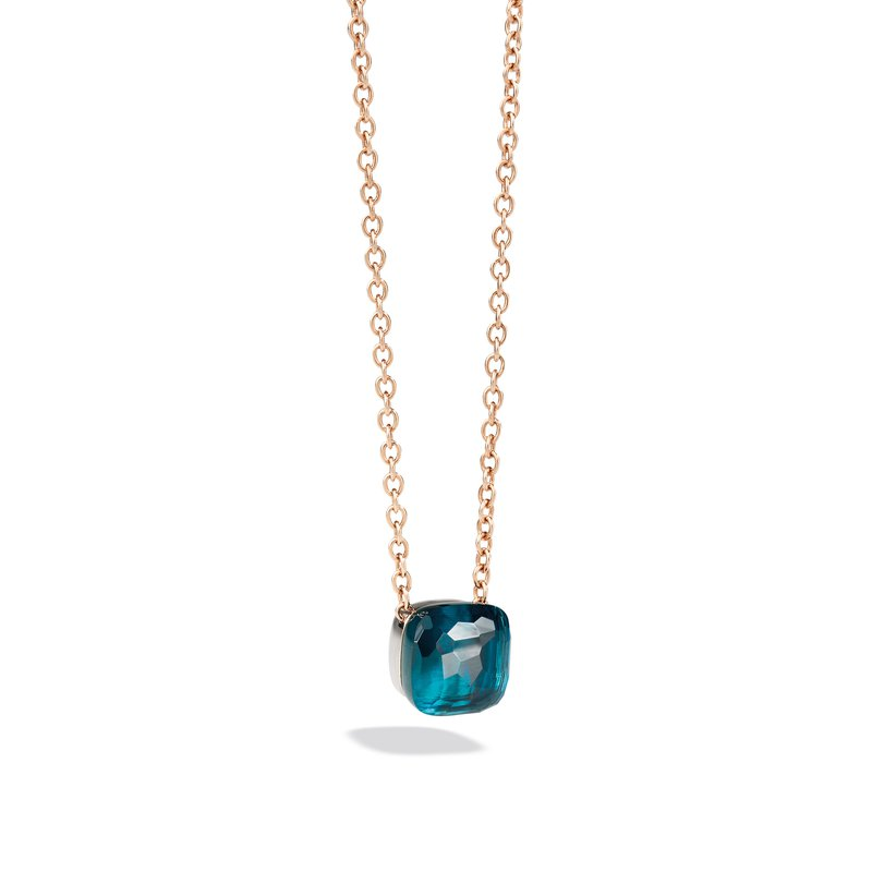 Pomellato Nudo 18k rose gold London blue topaz necklace