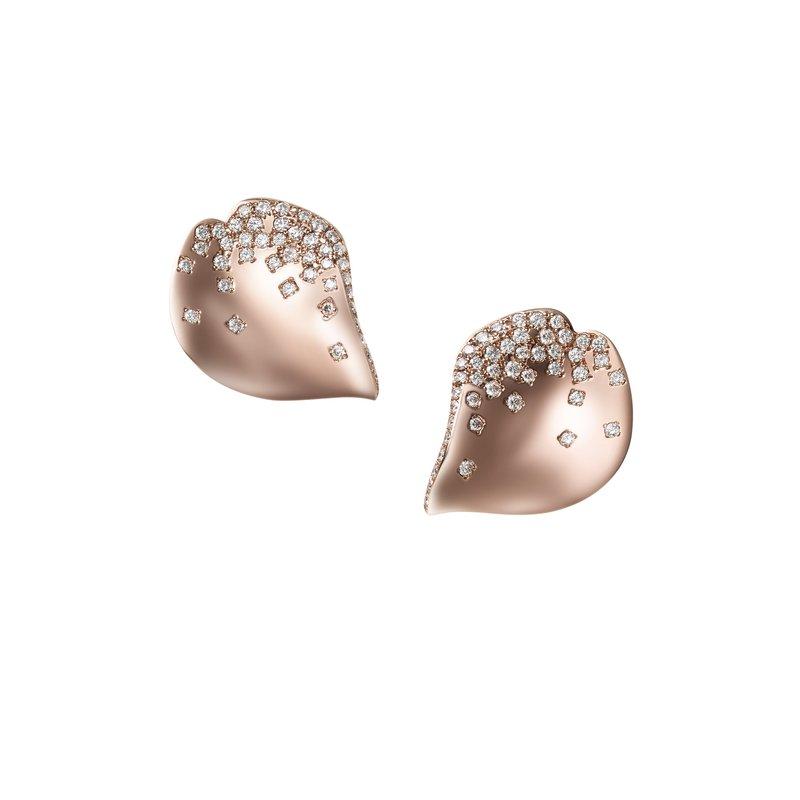 Mikimoto 18k Rose Gold Petal Diamond Earrings