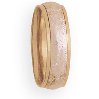 7mm 4T54 Mens Two Tone Wedding Band