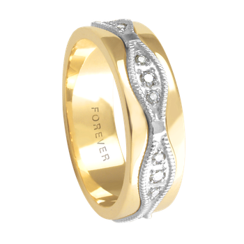 6mm 5781 Ladies Two Tone Wedding Band