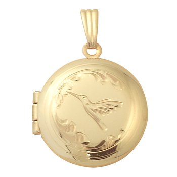 HAND-ENGRAVED HUMMINGBIRD ROUND LOCKET