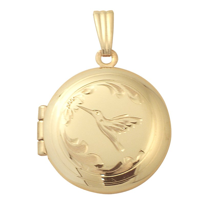 Cadmans HAND-ENGRAVED HUMMINGBIRD ROUND LOCKET