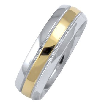 6mm 1T082 Mens Two-Tone Wedding Band