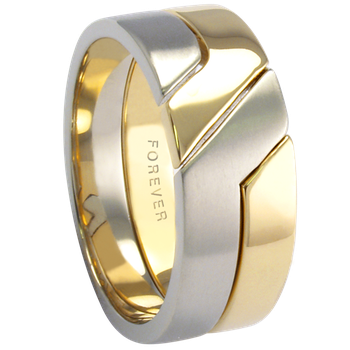 9mm 5776 Mens Two Tone Wedding Band