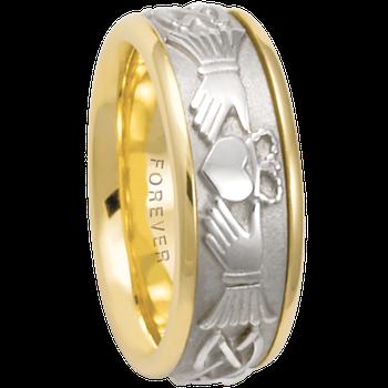 7.5mm 5520 Mens Claddagh Wedding Band