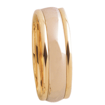 7mm D7T01 Mens Two-Tone comfort Curve Wedding Band