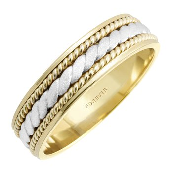 TWO-TONE ROPE CENTRE MENS WEDDING BAND