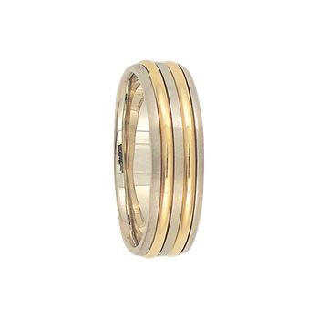 7mm 6T60 Mens Two-Tone Wedding Band
