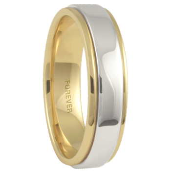 6mm DF6T01 Ladies Two-Tone Comfort Curve Wedding Band