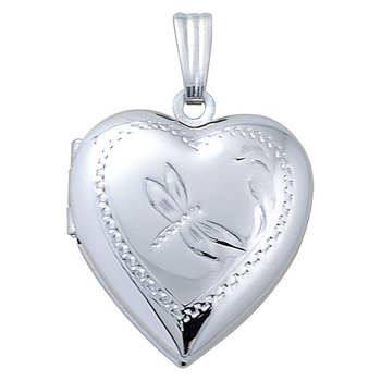 HAND-ENGRAVED HEART SHAPED DRAGON FLY LOCKET