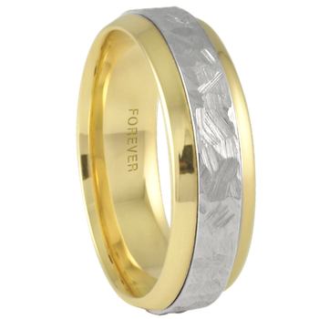 7mm 6T22 Mens Two-Tone Wedding Band