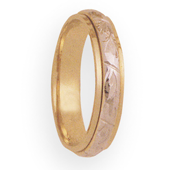 5mm 3T94 Mens Two Tone Wedding Band